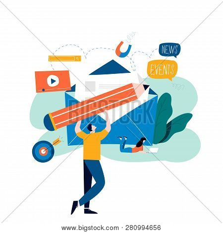 E-mail News, Subscription, Promotion Flat Vector Illustration Design. Online News, News Update, Info