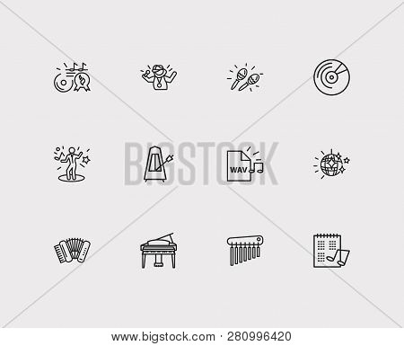 Musical icons set. Music hit and musical icons with maracas, chimes and wav file. Set of wind for web app logo UI design. poster