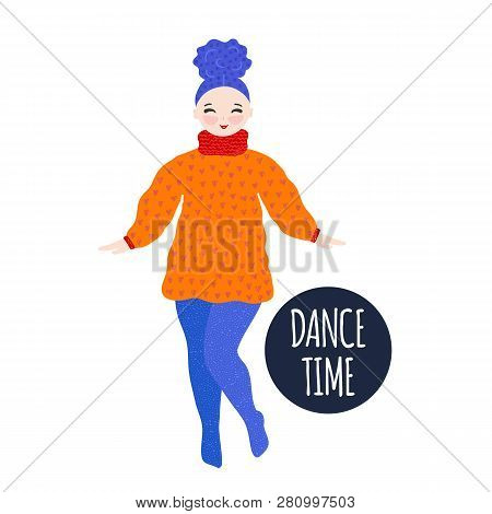 Girl In Warm Dress Dancing And Smiling. Pastime. Hand Drawn Cute Cartoon Character. Unique Design. F