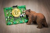 Cryptocurrency bitcoin bear figure on a wooden table. Bearish market trend concept poster