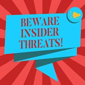 Conceptual hand writing showing Beware Insider Threats. Business photo showcasing Be cautious on malicious attack inside the network Folded 3D Ribbon Sash Speech Bubble photo for Celebration. poster