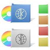 Globe and clock. Box with compact disc. Raster illustration. Vector version is in my portfolio. poster