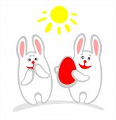 Two cheerful rabbits and easter egg on a white background. poster