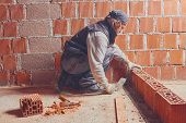Real construction worker bricklaying the wall indoors. poster