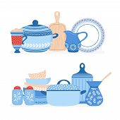 Cartoon cookware. Kitchen crockery, cooking tools vector isolated set. Illustration of cooking kitchenware, crockery for cookware poster