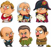The comic caricature. Vector. Travesty cartoon. Characters.  Isolated objects. A set of famous historical leaders. The generals. Suvorov, Napoleon, Caesar, Lenin, Stalin, Hitler. poster