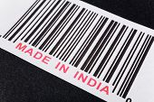 Made in India and barcode business concept poster