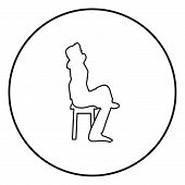 Man sitting pose with hands behinds head Young man sits on a chair with his leg thrown silhouette icon black color outline vector illustration flat style simple image in circle round 96 poster