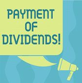 Conceptual hand writing showing Payment Of Dividends. Business photo showcasing Distribution of profits by the company to shareholders Color Silhouette of Blank Square Speech Bubble and Megaphone. poster