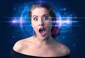 Biometric verification - woman face detection, high technology concept poster
