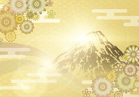 Mount Fuji With Sunrise On Japanese Gold Wave Pattern Background And Flower Ornament With Oriental M