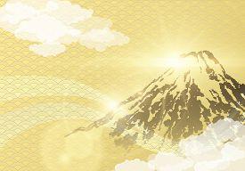 Mount Fuji With Sunrise On Japanese Gold Wave Pattern Background