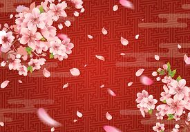 Cherry Blossom On A Red Background With Oriental Pattern. Sakura Branch In Springtime With Falling P