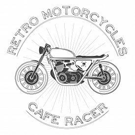 White Caferacer Logo. Retro Motorcycle. Vector Illustration. Cafe Racer Theme.