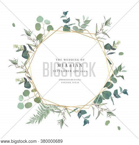 Summer Greenery Vector Design Card. Eucalyptus, Spring Greenery, Sage Plants. Wedding Floral Invitat