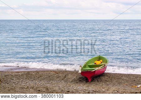 Rescue Boat On The Beach. Concept Of Rescue At Sea