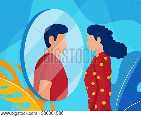 Woman Transgender Looking In Mirror And Seeing Man. Imaginary Reflection, Concept Of Transgenderism.