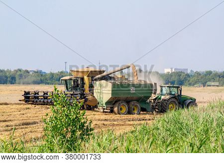 Ukraine, Kalush, August 2020: Harvesting Wheat By Modern Technologies. Overloading Wheat From The Co
