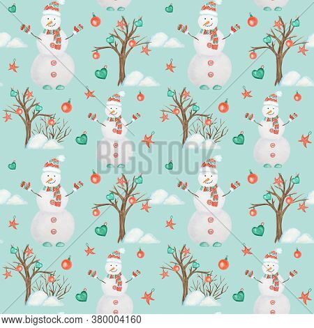 New Year Christmas Tree And Snowman Watercolor Seamless Pattern Kids Background. Hand Drawn Vintage