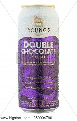 Ukraine, Kyiv - June 21. 2020: Aluminium Can Beer Young's Double Chocolate Stout, On White Backgroun