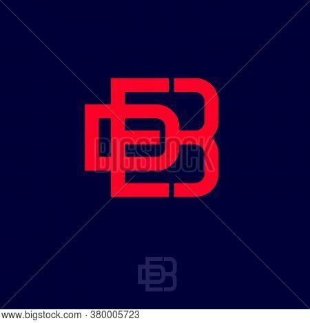 D, E And B Monogram. D, E, B Interlocking Letters. Red Linear Monogram. Logo Can Be Used For Busines