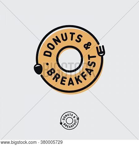 Donuts And Breakfast Logo. Cafe Bistro Logo Like Donut Icon With Fork And Spoon Run Around Circle. B