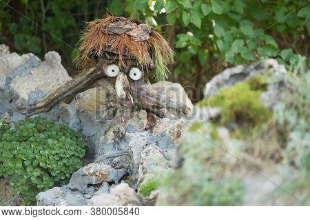 Handmade Mythological Wood-goblin Created From Stump And Pine Needles