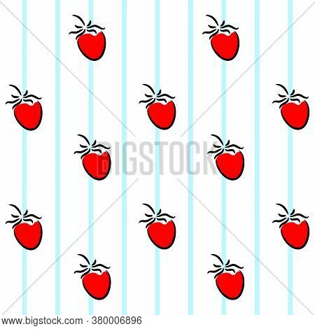 Red Strawberry On A Background Of Blue Lines