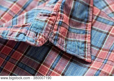 Close Up Of Men's Checkered Shirt. Fashion Background.