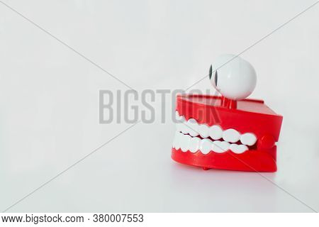 A Smiling Toy Denture, Chattering Teeth With A Spring That Opens And Closes By Vibrating, With White