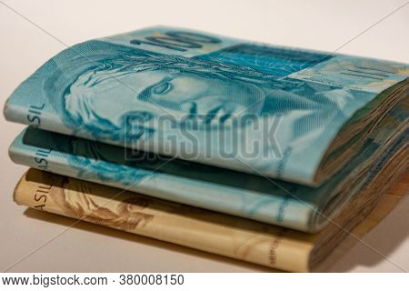 Banknotes Of One Hundred And Fifty Brazilian Reais