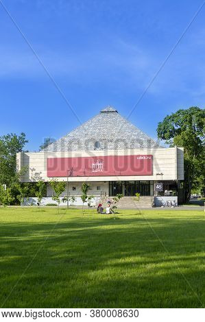 Moscow, Russia - June 16, 2020: Vdnh Park At Sunny Summer Morning. Pavilion 46. Vdnh Is Popular Hist