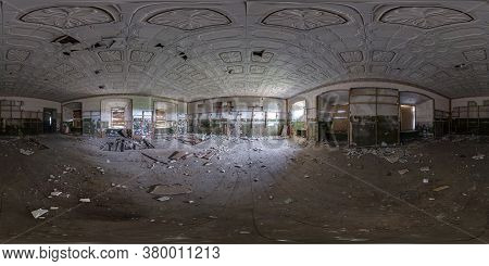 Abandoned Empty Concrete Room Or Unfinished Building. Full Seamless Spherical Hdri Panorama 360 Degr