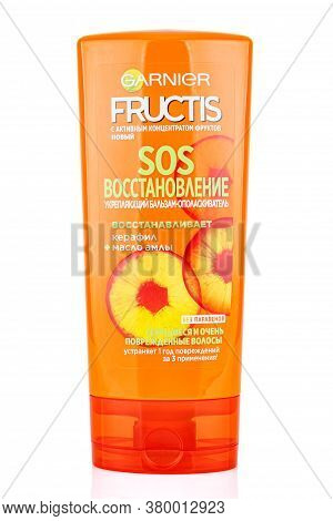 Moscow, Russia - July 22, 2020: Garnier Fructis Sos Recovery Firming Balm Conditioner With Amla Oil