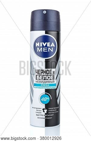 Moscow, Russia - July 22, 2020: Nivea Men Black And White Fresh Antiperspirant Invisible Antibacteri