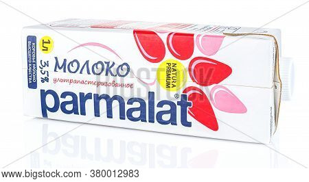 Moscow, Russia - July 28, 2020: Parmalat Ultra Pasteurized Milk In A Carton Retail Pack With Plastic