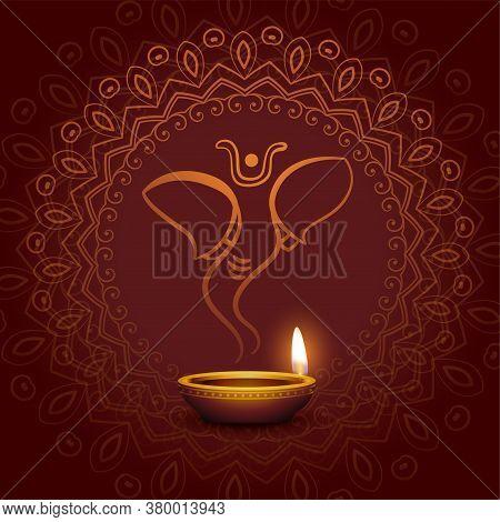 Lord Ganesha And Festival Diya Card Design
