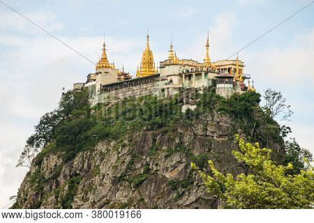 Buddhist Temple On The Highest Peak Of Mount Popa An Ancient Volcano And Home Of