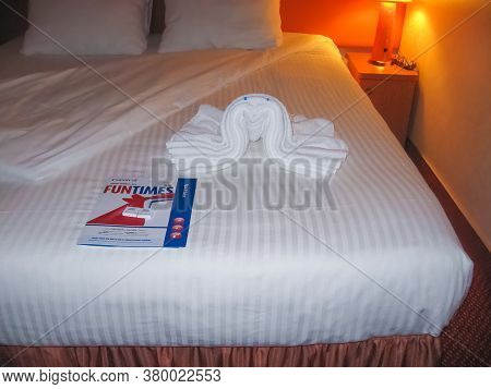 Miami, United States Of America - January 8 2014: The Cruise Of Carnival Glory Cruise Ship. The Inte