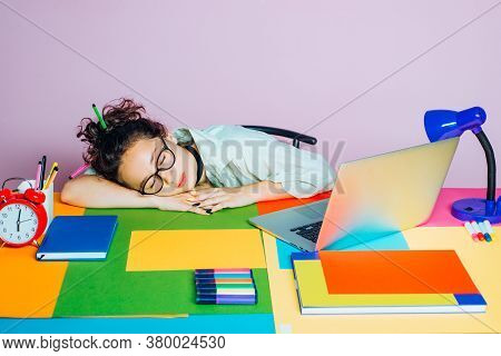 Student In Classroom. Bored Student Listening While Classmate Sleeping At Home. Education In High Sc