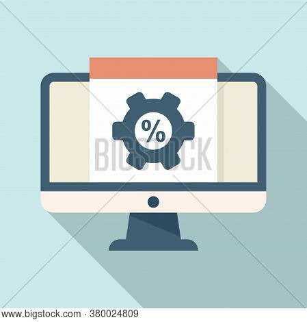 Monitor Conversion Rate Icon. Flat Illustration Of Monitor Conversion Rate Vector Icon For Web Desig