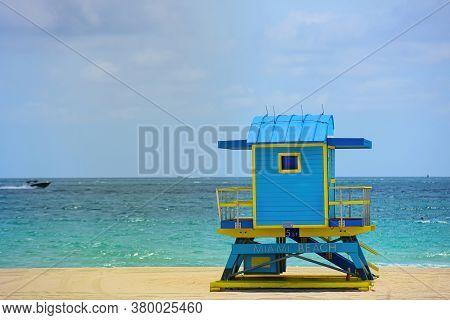 Miami Beach, Florida. Lifeguard Tower In Miami Beach