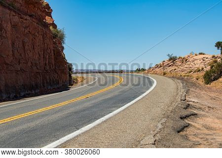 Summer Road In Mountain, Curved Arizona Desert Road