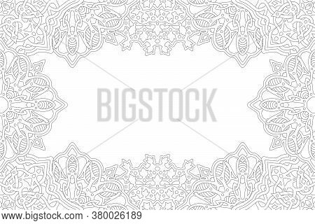 Beautiful Monochrome Vector Linear Illustration For Adult Coloring Book With Abstract Rectangle Bord