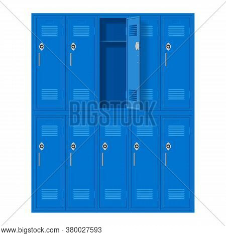 Blue Metal Cabinets With One Open Door. Lockers In School Or Gym With Handles And Locks. Safe Box Wi