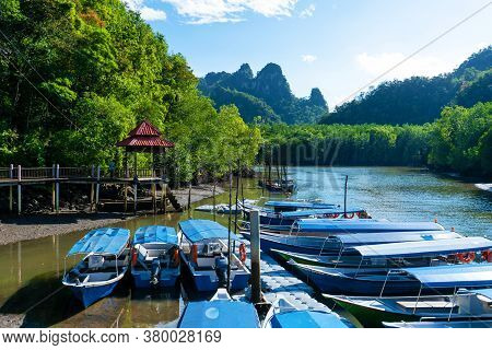 Asian Boat Station For Small Tourist Boats. Boat Excursions On The River.