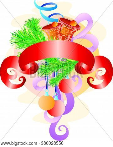 Christmas Composition Of Bells, Green Branches And Red Banner, Isolated Object On White Background,