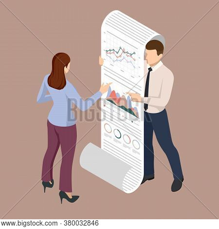 Isometric Business People Looking At The Graph On Flipchart. Expert Team For Data Analysis, Business