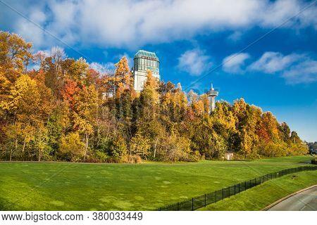 Niagara falls, Canada-Oct 28, 2019: Beautiful park and Casino building by Niagara falls at day time. Canada.