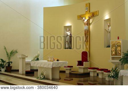 ZAGREB, CROATIA - SEPTEMBER 03, 2014: St. Matthew Parish Church in Dugave, Zagreb, Croatia